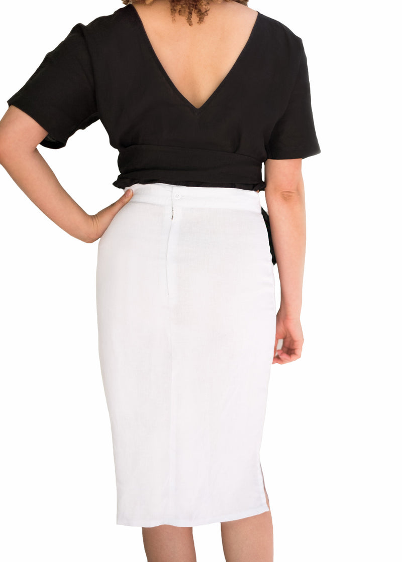 White midi pencil linen skirt black linen top