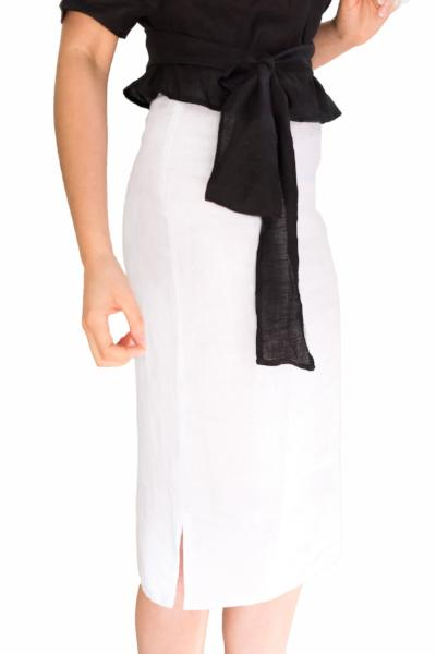 Midi Linen Skirt White Splits black linen top