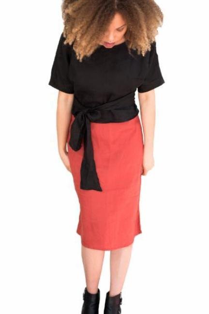 Linen midi skirt. Burnt Orange black linen top