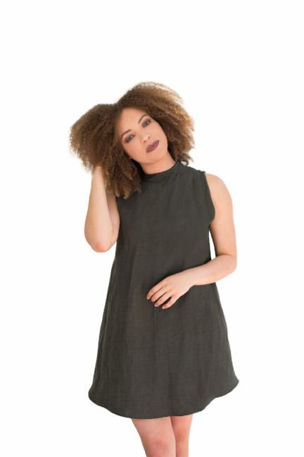 linen mini dress flowy high neck