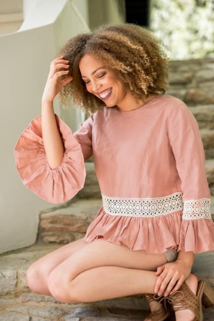 dusty pink linen top with crochet