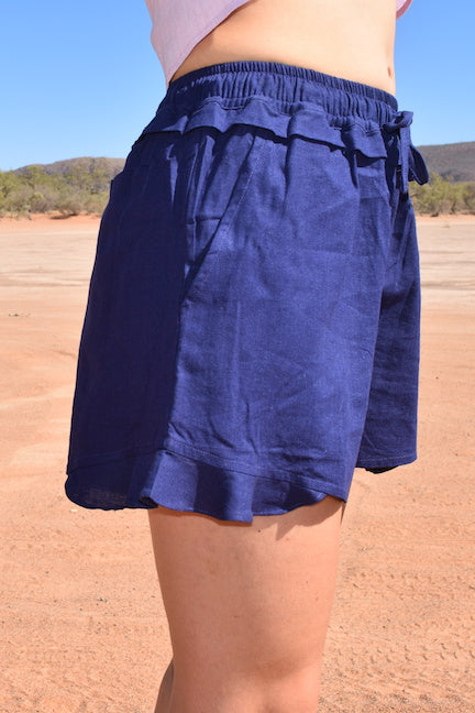 Navy coloured linen drawstring short with pockets, ladies sustainable and ethical fashion label Australian