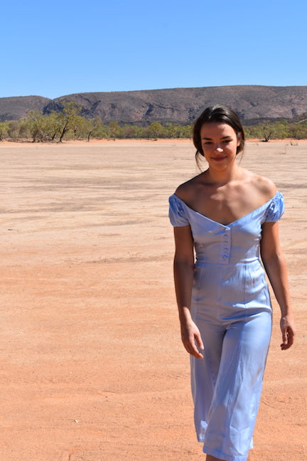 off shoulder silk jumpsuit wide leg pale blue outback Australian Alice springs