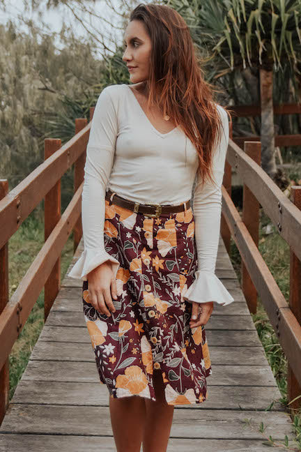 linen floral midi skirt - winter long sleeve basic flare sleeve