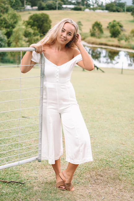 off shoulder silk jumpsuit wide leg ivory Australian