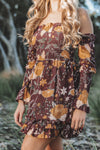 shirred dress long sleeve print maroon mustard frill