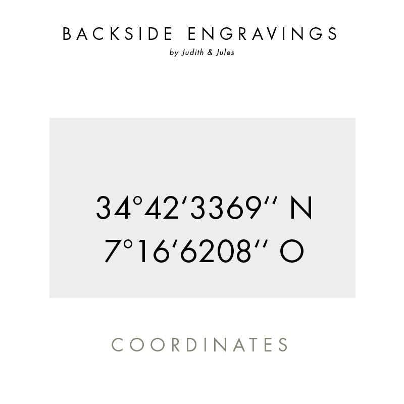 Make your piece of jewelry even more unique by adding a customized coordinates engraving on the pendant. The size of the initials and texts can vary slightly depending on the font and the length of the text. We put the greatest effort into ensuring that the engravings are well placed and proportional to the pendant.