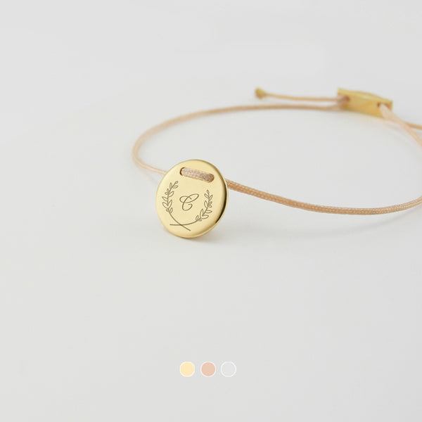 Customized, personalized, delicate bracelet - create something meaningful for yourself or for a loved one with a personal message, monogram, special symbol or a significant date. Add an extra customized  engraving on the backside of the pendant.
