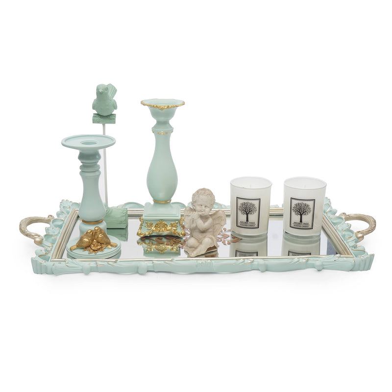 Mirror Tray With Aroma Candles & Accessories