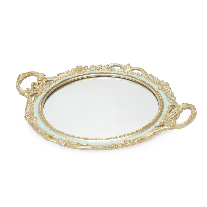 Circular metallic mirror tray