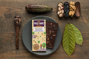 Paul and Mike 57% Dark Milk Pistachios Walnuts Black Raisins Chocolate 68g