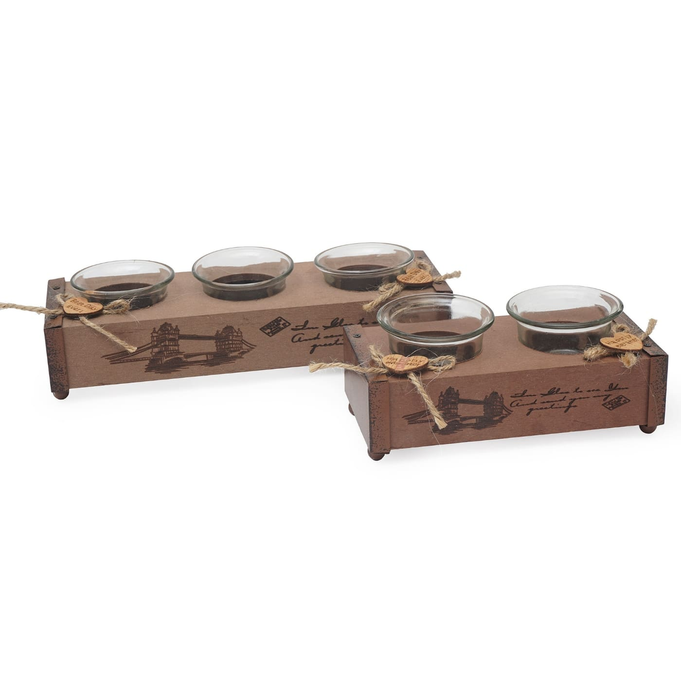 Wooden set of candle holders