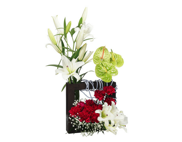 Oriental lilies & green anthuriums arrangement