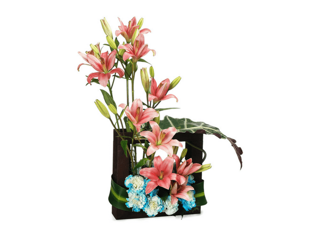 asiatic lilies & carnations in a wooden box