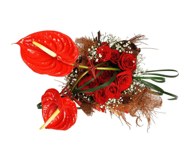 red anthuriums and red roses