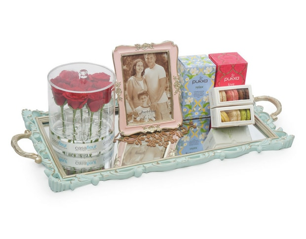 Mirror Gift Tray With Roses & Photo Frame