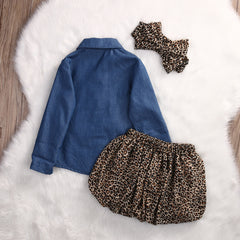 Denim & Leopard Set