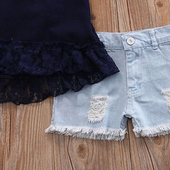 Halter Lace & Denim Set