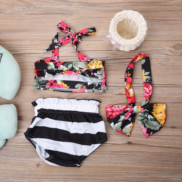 Floral Stripes Swimsuit