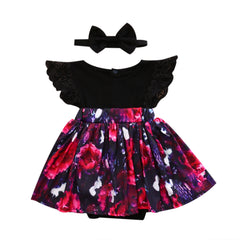 Black Floral Dress Set