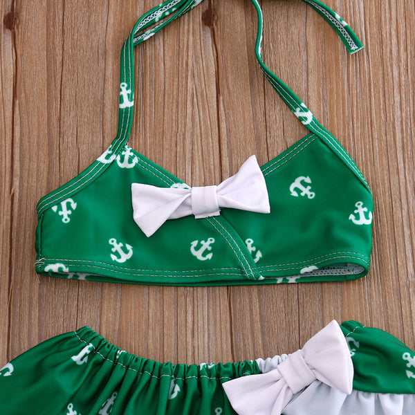 Green Anchor Swimsuit Set