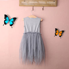 Gray Flower Tutu Dress