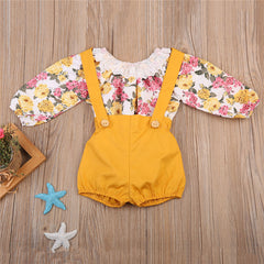 Floral & Yellow Romper Set