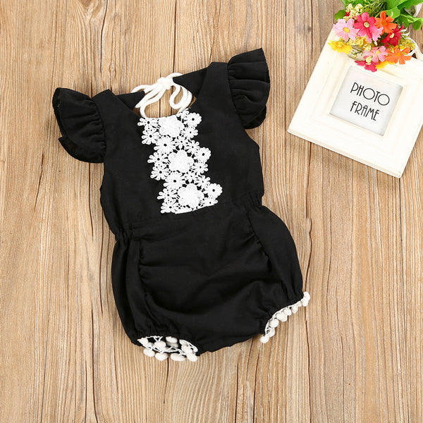 Flower Lace Black Bodysuit