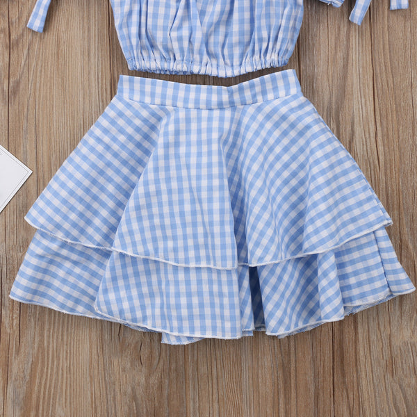 Blue Plaid Crop Top Set