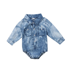 Denim Long Sleeves Bodysuit