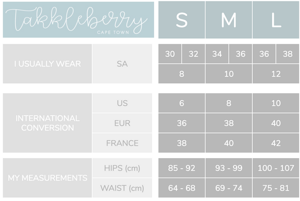 Takkleberry sizing guide find your perfect fit
