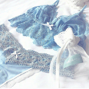 Lace Thong in Wedgwood Blue