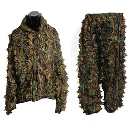 Leaf Ghillie Suit Woodland Camo Camouflage clothing 3D jungle Hunting Free Size - geardeal.online