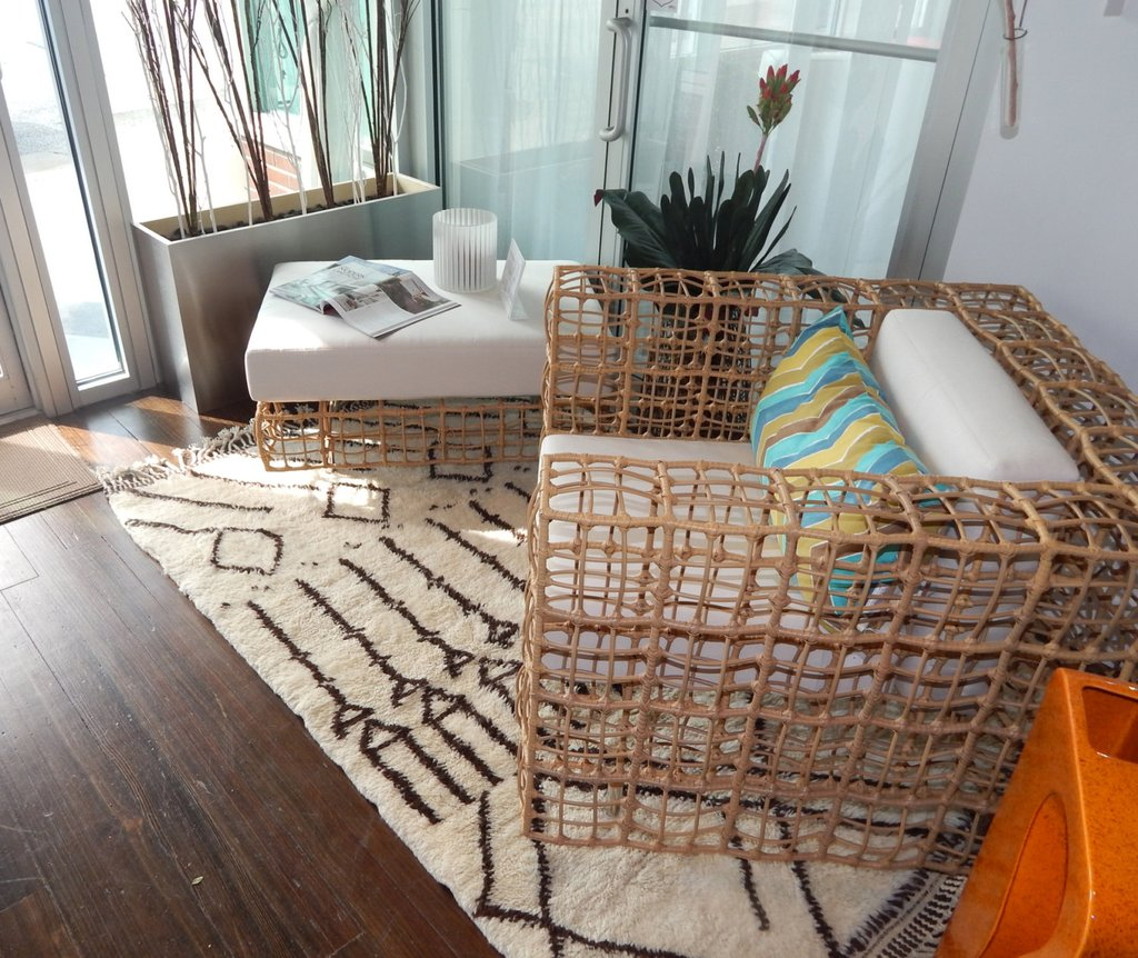 Beni ourain rug in living room