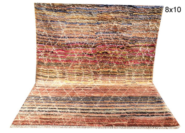 Genuine Hand Knotted Shaggy Azrou Moroccan Rug -A87