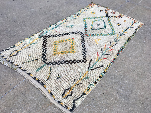 Vintage Azilal Moroccan  Rug - Mid Century Modern