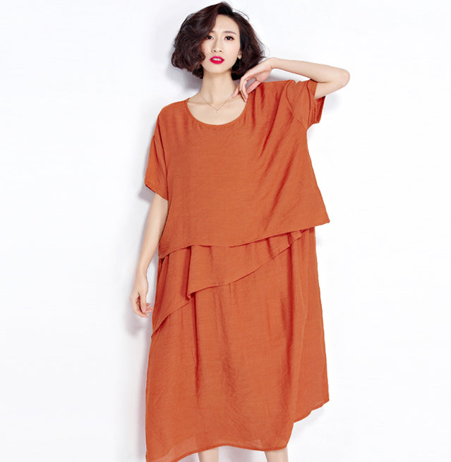 Plus Size Long Linen Casual Fashion Women Dress - OyeHoe