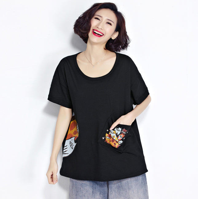 Plus Size Kawaii Cat Pattern Casual Women Top - OyeHoe