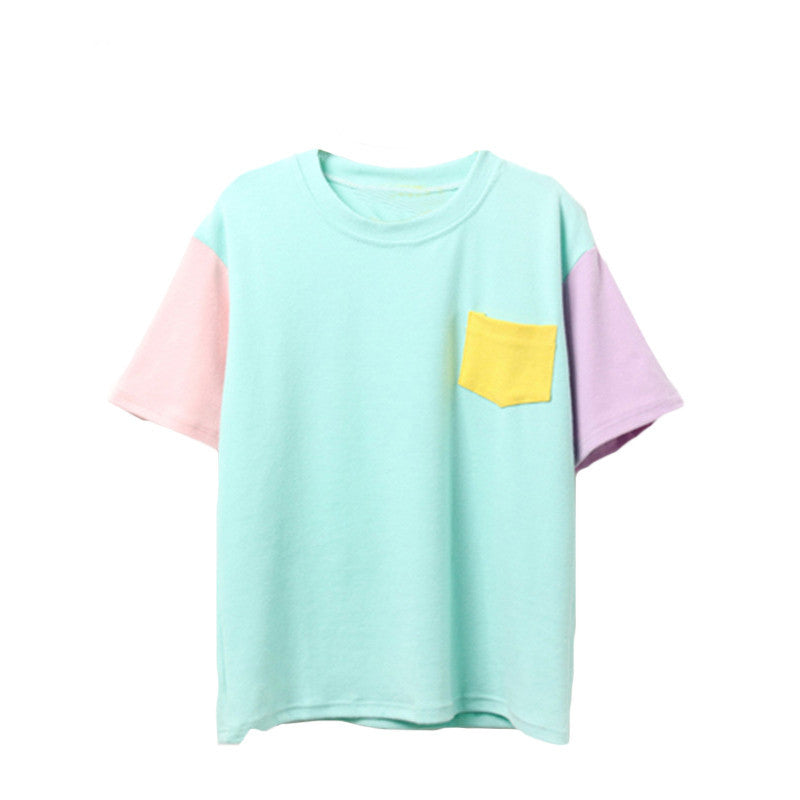 Korean Style Summer Block Short Casual Women Top - OyeHoe