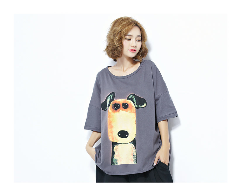 Plus Size Dog Pattern Batwing Casual Women Top - OyeHoe