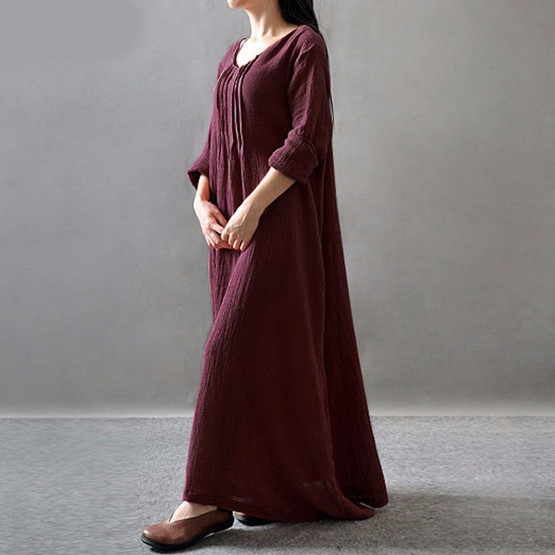 Autumn V-Neck Long Sleeve Retro Casual Women Maxi - OyeHoe