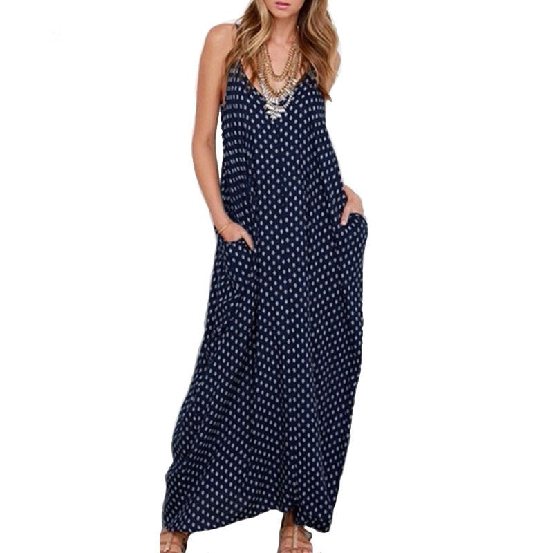 Summer Fashion Straps Polka Dot Long Casual Women Maxi