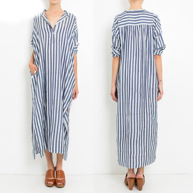 Autumn Vintage Striped Long Casual Women Maxi - OyeHoe