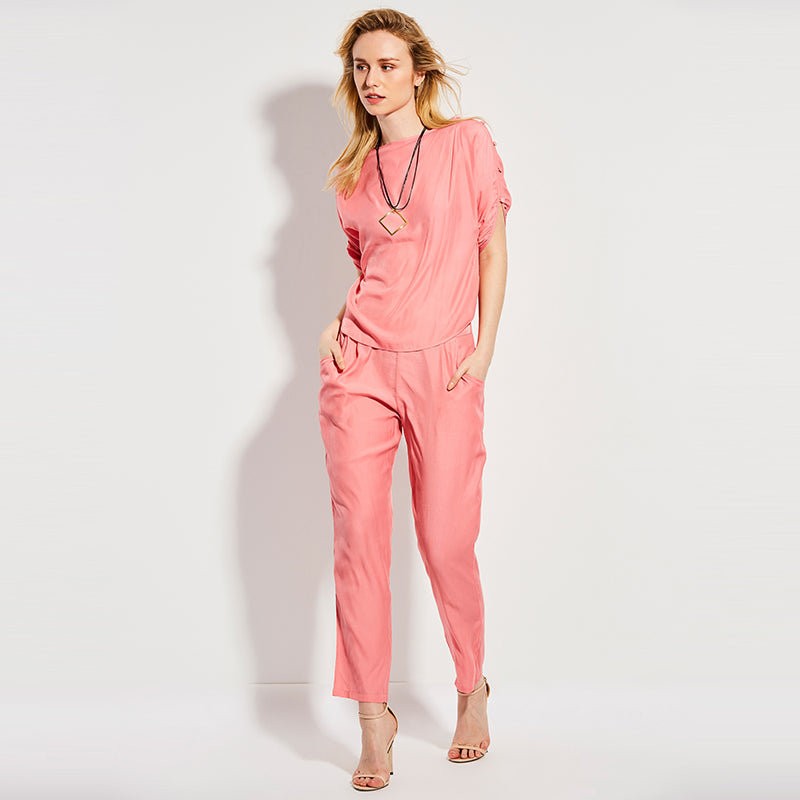 Autumn Pleated PatchWork Casual Women Jumpsuit - OyeHoe