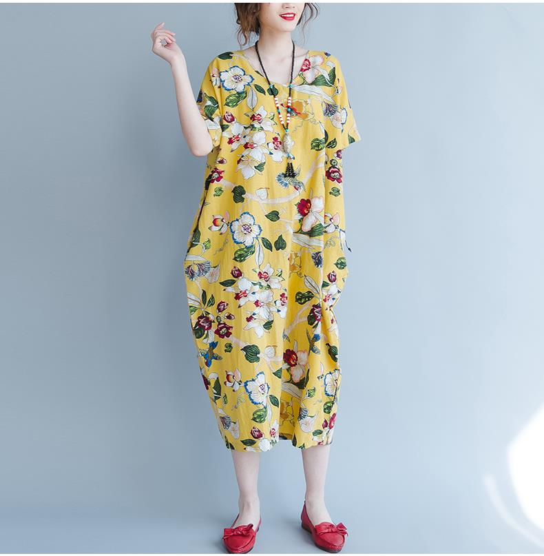 Plus Size Summer Floral Linen Casual Vintage Women Dress - OyeHoe