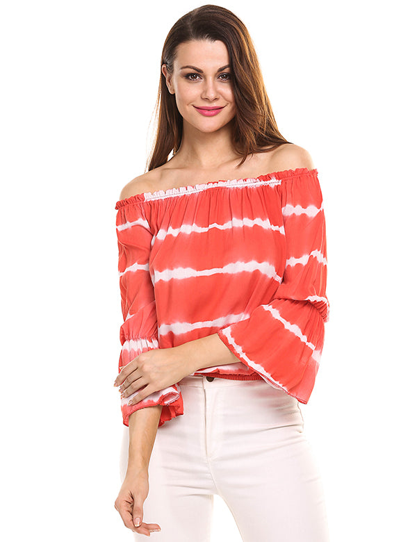 Summer Off Shoulder Stripe Casual Women Top