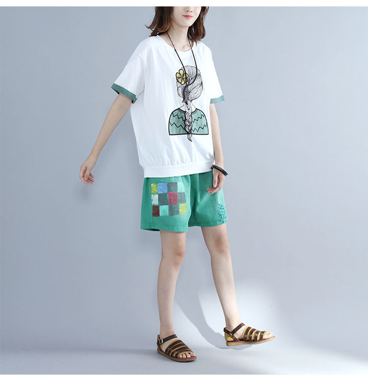Summer Plus Size Cotton Cartoon Girl Casual Women Top