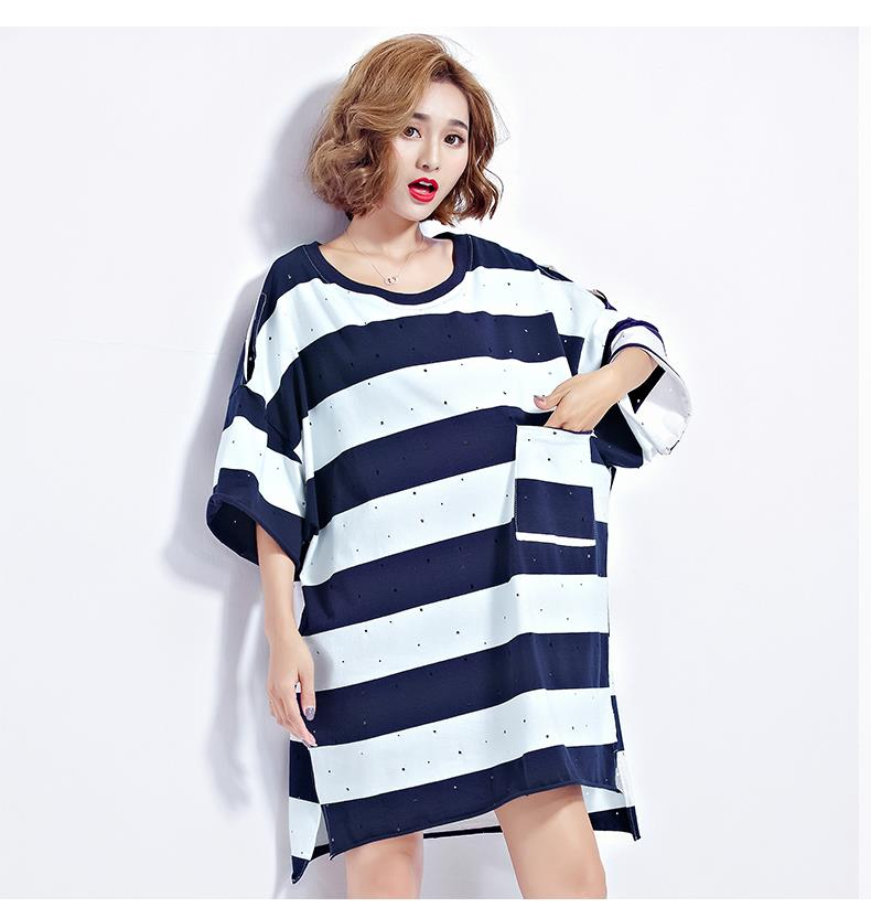 Summer Plus Size Batwing Striped Casual Women Top
