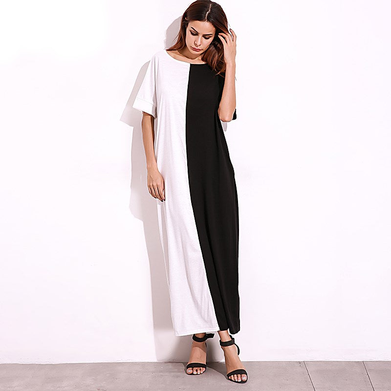 Plus SIze Short Sleeve Stitching Casual Women Maxi - OyeHoe