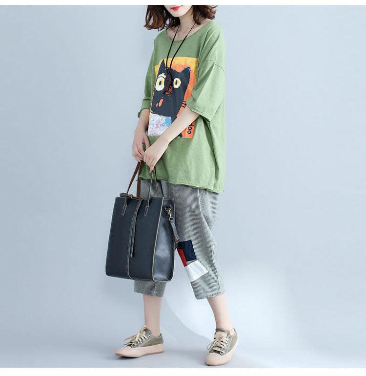 Summer Big Size Cotton Cat Casual Women Top